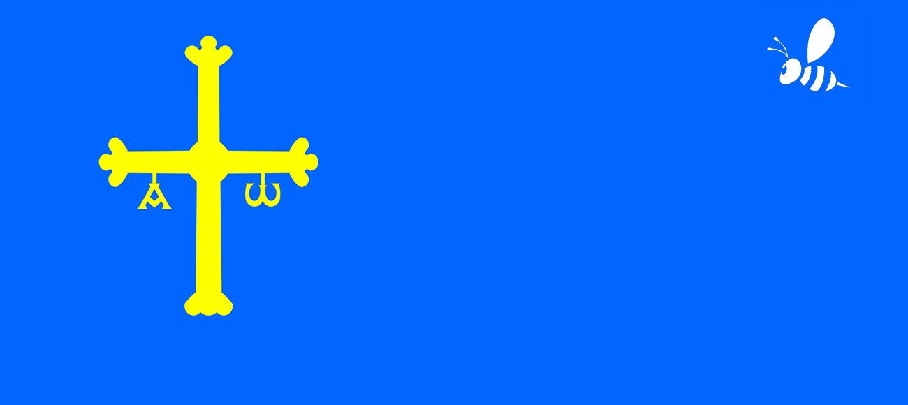 Avispa asiática en bandera de asturias