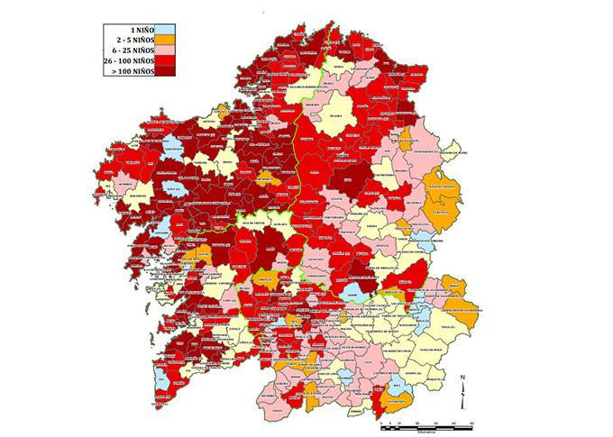 Mapa de avispas asiáticas en Galicia